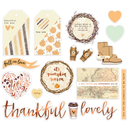 Prima - Amber Moon Collection - Ephemera with Foil Accents
