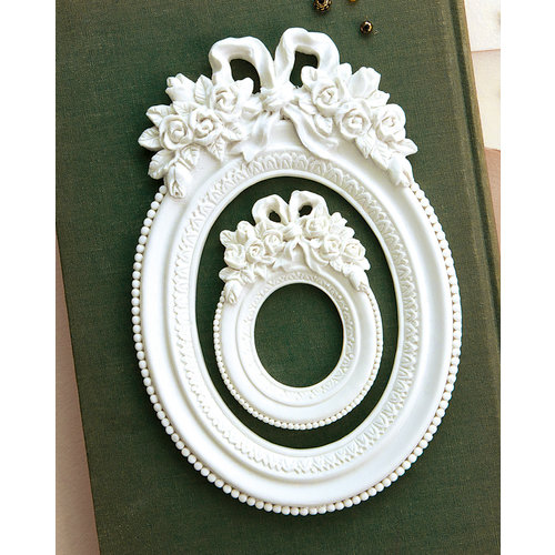Prima - Memory Hardware - Resin Frames - Blanc Fleur Oval Frame