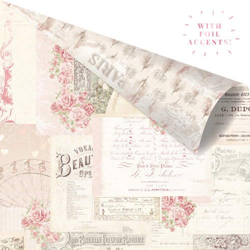 Prima - Love Story Collection - 12 x 12 Double Sided Paper - Memories Left in Notes with Foil Accents
