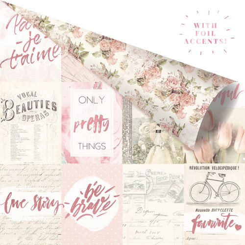 Prima - Love Story Collection - 12 x 12 Double Sided Paper - Notes That Last Forever with Foil Accents