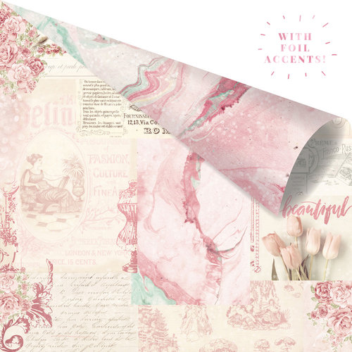 Prima - Love Story Collection - 12 x 12 Double Sided Paper - Love Notes Only For You with Foil Accents