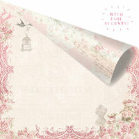 Prima - Love Story Collection - 12 x 12 Double Sided Paper - Love on Top with Foil Accents