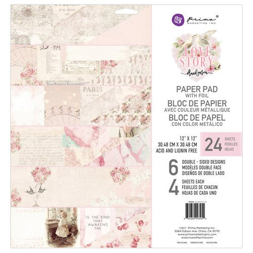 Prima - Love Story Collection - 12 x 12 Paper Pad with Foil Accents