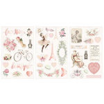 Prima - Love Story Collection - Chipboard Stickers with Foil Accents