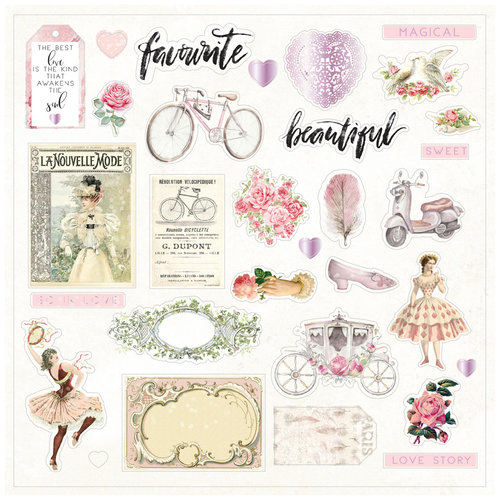 Prima - Love Story Collection - Ephemera with Foil Accents