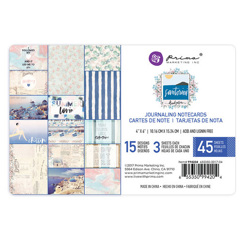 Prima - Santorini Collection - 4 x 6 Journaling Cards