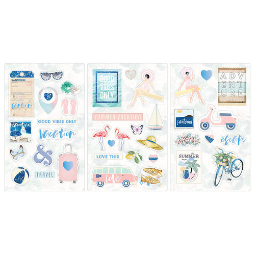 Prima - Santorini Collection - Chipboard Stickers with Foil and Glitter Accents