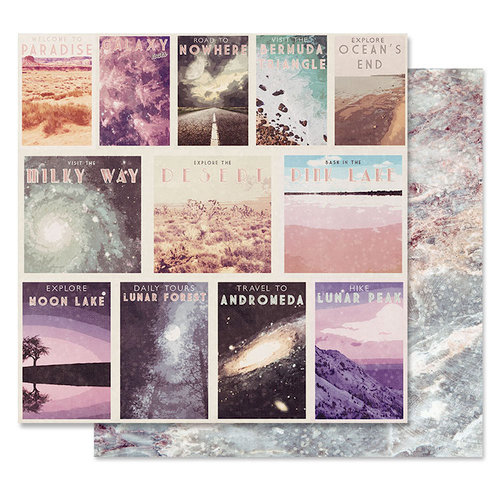 Prima - Moon Child Collection - 12 x 12 Double Sided Paper - Let's Get Lost