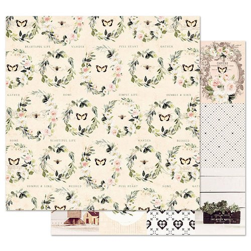 Prima - Spring Farmhouse Collection - 12 x 12 Double Sided Paper with Foil Accents - Full Heart