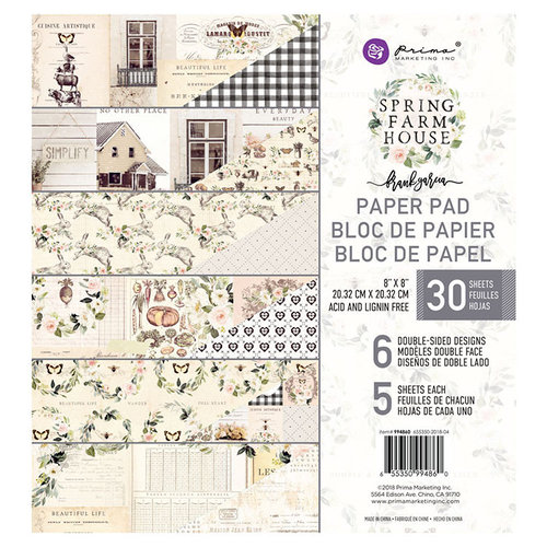 Prima - Spring Farmhouse Collection - 8 x 8 Paper Pad