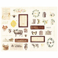 Prima - Spring Farmhouse Collection - Chipboard Stickers with Foil Accents