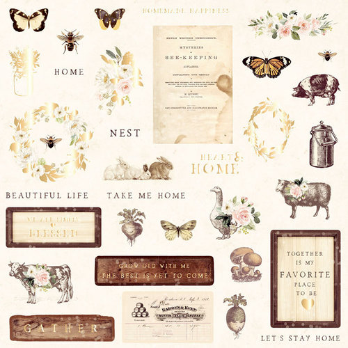 Prima - Spring Farmhouse Collection - Ephemera 1 with Foil Accents