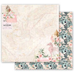 Prima - Golden Coast Collection - 12 x 12 Double Sided Paper - Golden Heart with Foil Accents