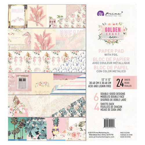 Prima - Golden Coast Collection - 12 x 12 Paper Pad with Foil Accents