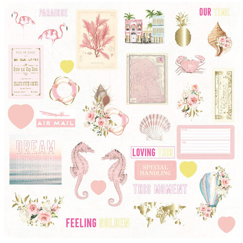 Prima - Golden Coast Collection - Ephemera with Foil Accents