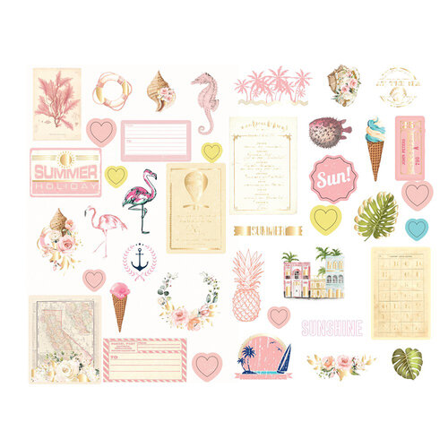 Prima - Golden Coast Collection - Chipboard Stickers