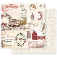 Prima - Christmas in the Country Collection - 12 x 12 Double Sided Paper - Christmas Joy with Foil Accents