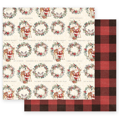 Prima - Christmas in the Country Collection - 12 x 12 Double Sided Paper - Most Wonderful Time of the Year with Foil Accents
