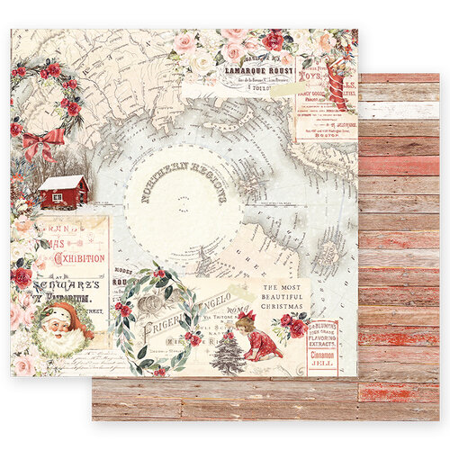 Prima - Christmas in the Country Collection - 12 x 12 Double Sided Paper - Northern Regions with Foil Accents