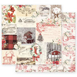 Prima - Christmas in the Country Collection - 12 x 12 Double Sided Paper - Compliments of the Season with Foil Accents