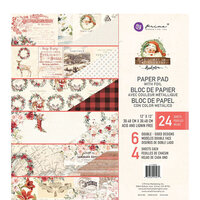 Prima - Christmas in the Country Collection - 12 x 12 Paper Pad with Foil Accents