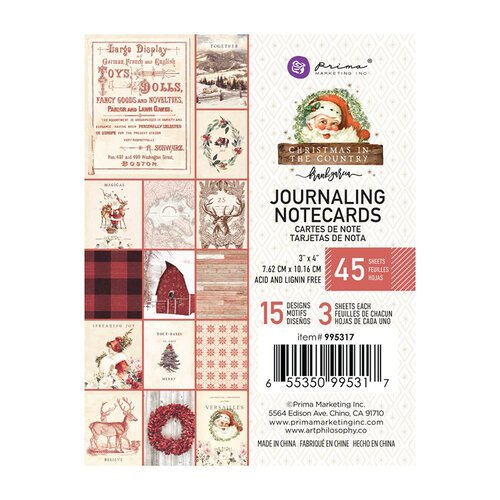 Prima - Christmas in the Country Collection - 3 x 4 Journaling Cards