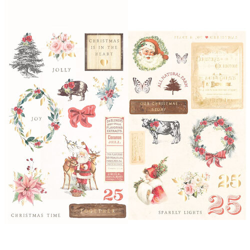 Prima - Christmas in the Country Collection - Chipboard Stickers with Foil Accents