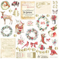 Prima - Christmas in the Country Collection - Ephemera with Foil Accents - 42 Pieces