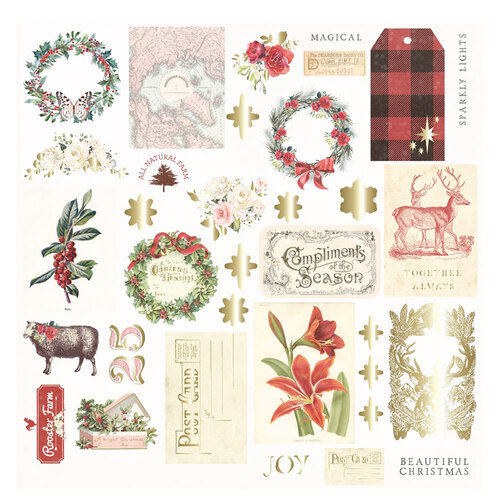 Prima - Christmas in the Country Collection - Ephemera with Foil Accents - 34 Pieces