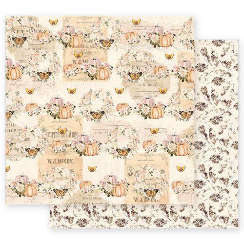 Prima - Autumn Sunset Collection - 12 x 12 Double Sided Paper - Fall Flight with Foil Accents