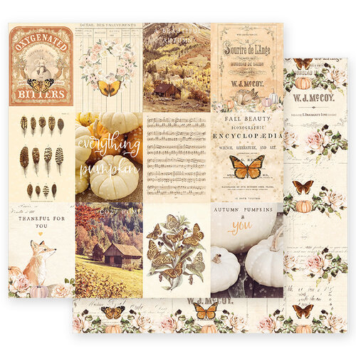 Prima - Autumn Sunset Collection - 12 x 12 Double Sided Paper - Pumpkins And You with Foil Accents