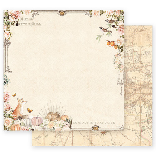 Prima - Autumn Sunset Collection - 12 x 12 Double Sided Paper - Falling Leaves with Foil Accents