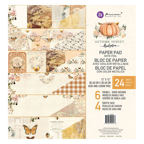 Prima - Autumn Sunset Collection - 12 x 12 Paper Pad with Foil Accents