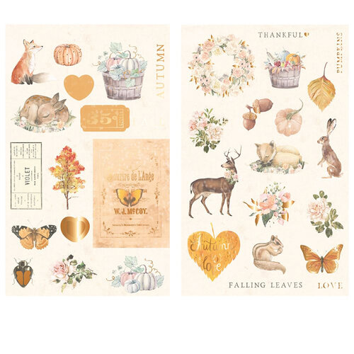 Prima - Autumn Sunset Collection - Chipboard Pieces with Foil Accents