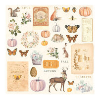 Prima - Autumn Sunset Collection - Ephemera with Foil Accents