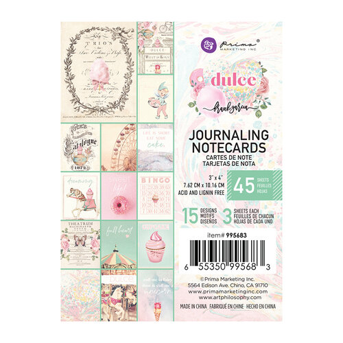Prima - Dulce Collection - Dulce Collection - 3 x 4 Journaling Cards