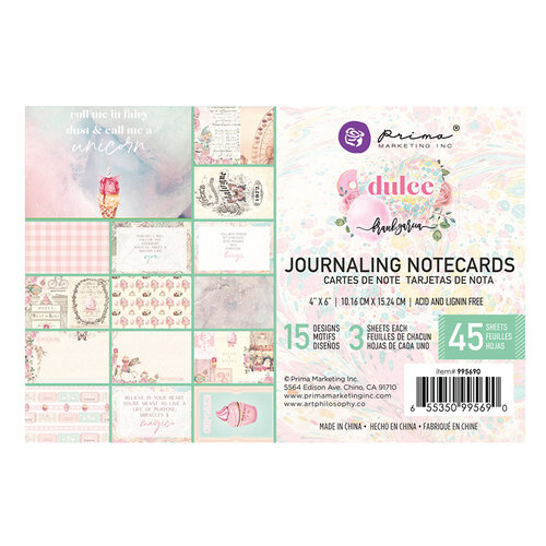 Prima - Dulce Collection - Dulce Collection - 4 x 6 Journaling Cards