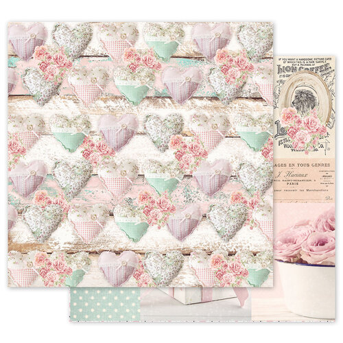 Prima - With Love Collection - 12 x 12 Double Sided Paper - Stitched Hearts