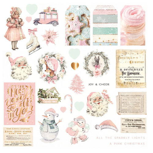 Prima - Sugar Cookie Christmas Collection - Ephemera with Foil Accents
