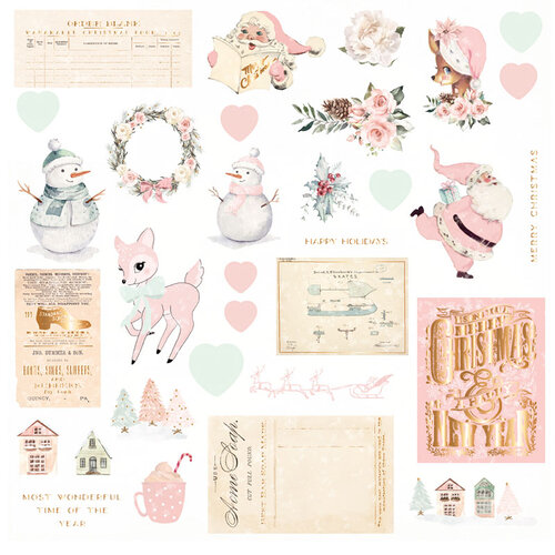 Prima - Sugar Cookie Christmas Collection - Ephemera 2 with Foil Accents