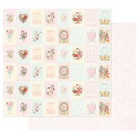 Prima - Magic Love Collection - 12 x 12 Double Sided Paper - Love Stamps