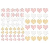 Prima - Santa Baby Collection - Christmas - Glitter Stickers - Snowflakes and Hearts Bundle