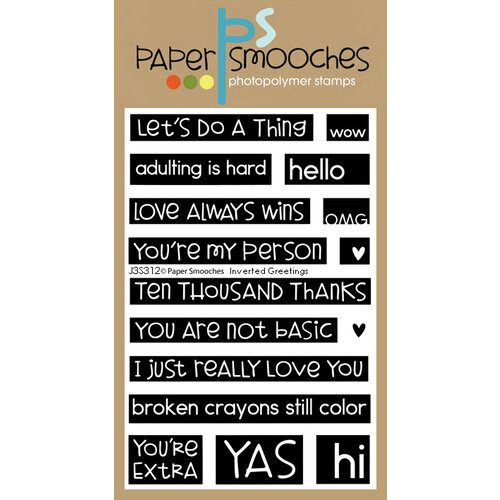 Paper Smooches - Clear Photopolymer Stamps - Inverted Greetings