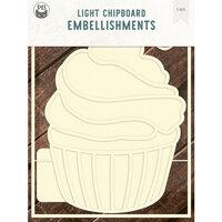 P13 - Light Chipboard Embellishments - Deco Base - 6 x 8 Cupcake