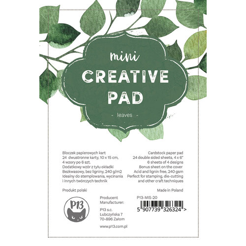 P13 - 4 x 6 Paper Pad - Mini Creative Pad - Leaves