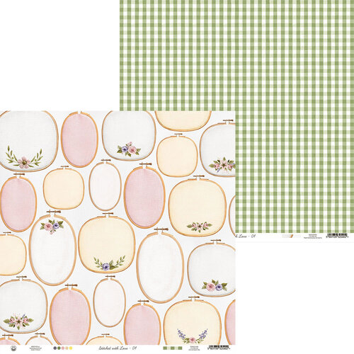 P13 - Stitched with Love Collection - 12 x 12 Double Sided Paper - 04