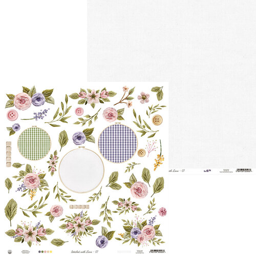 P13 - Stitched with Love Collection - 12 x 12 Double Sided Paper - 07