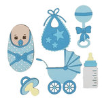 Paper Wizard - Die Cuts - Oh Baby, Minis Blue