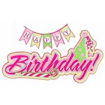 Paper Wizard - Die Cuts - Birthday Banner Title - Pink