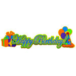 Paper Wizard - You Say Its Your Birthday Collection - Die Cuts - Happy Birthday - Script - Blue